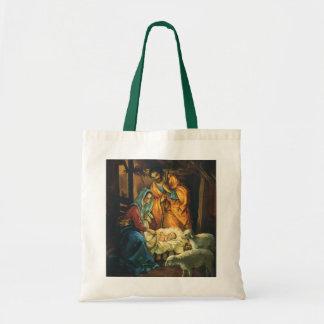 Natividad del navidad del vintage, bebé Jesús en Bolsa Tela Barata