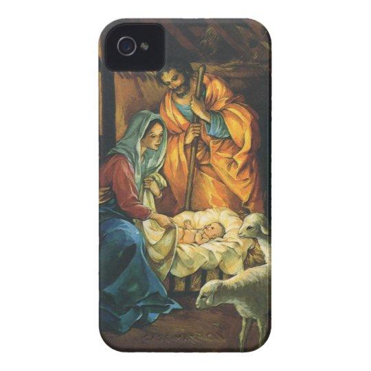Natividad del navidad del vintage, bebé Jesús en Carcasa Para iPhone 4