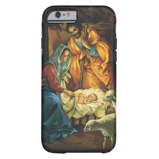 Natividad del navidad del vintage, bebé Jesús en Funda De iPhone 6 Tough