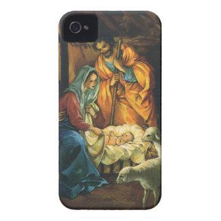 Natividad del navidad del vintage, bebé Jesús en iPhone 4 Protectores