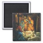 Natividad del navidad del vintage, bebé Jesús en Imán Cuadrado