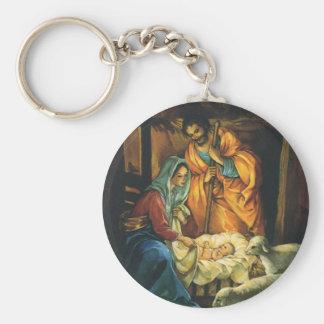 Natividad del navidad del vintage, bebé Jesús en Llaveros