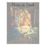 Natividad del navidad del vintage, bebé Jesús en Plantilla De Membrete