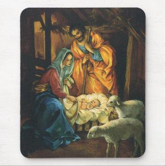 Natividad del navidad del vintage, bebé Jesús en Mouse Pads