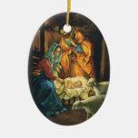 Natividad del navidad del vintage, bebé Jesús en p Adorno De Navidad