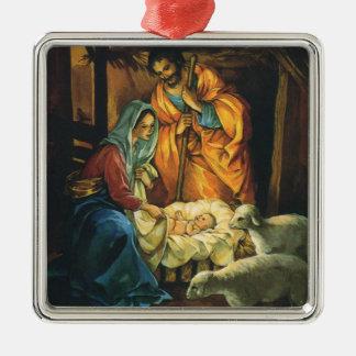 Natividad del navidad del vintage, bebé Jesús en p Ornamentos Para Reyes Magos