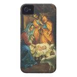 Natividad del navidad del vintage, bebé Jesús en p iPhone 4 Case-Mate Fundas