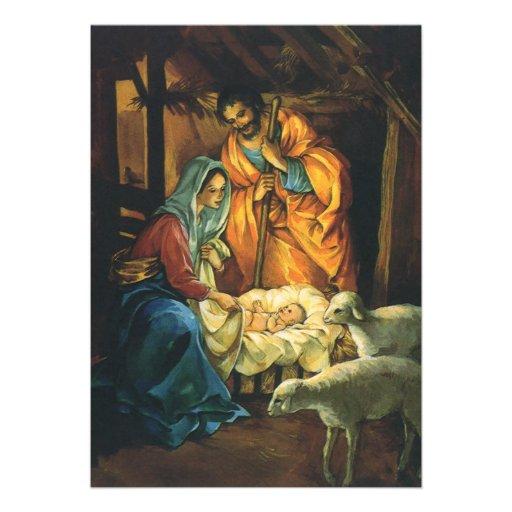 Natividad del navidad del vintage, bebé Jesús en p Anuncios Personalizados