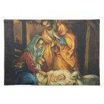 Natividad del navidad del vintage, bebé Jesús en p Mantel