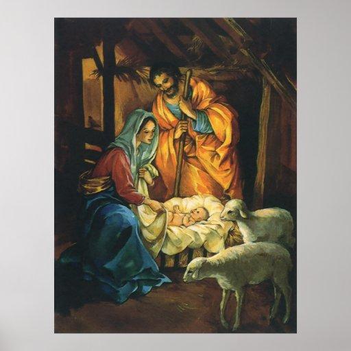 Natividad del navidad del vintage, bebé Jesús en p Impresiones