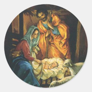 Natividad del navidad del vintage, bebé Jesús en p Pegatina Redonda