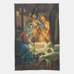 Natividad del navidad del vintage, bebé Jesús en Toalla De Mano