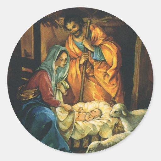 Natividad del navidad del vintage, bebé Jesús en Pegatina Redonda