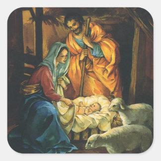 Natividad del navidad del vintage, bebé Jesús en Calcomanías Cuadradases