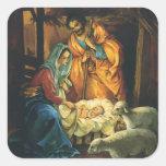 Natividad del navidad del vintage, bebé Jesús en Pegatina Cuadrada