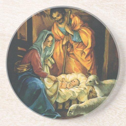 Natividad del navidad del vintage, bebé Jesús en Posavasos De Arenisca