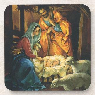Natividad del navidad del vintage, bebé Jesús en Posavasos De Bebidas