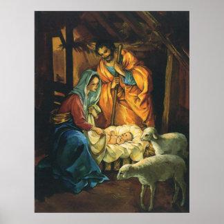 Natividad del navidad del vintage, bebé Jesús en Póster