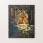Natividad del navidad del vintage, bebé Jesús en Rompecabezas