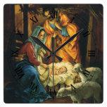Natividad del navidad del vintage, bebé Jesús en Reloj Cuadrado