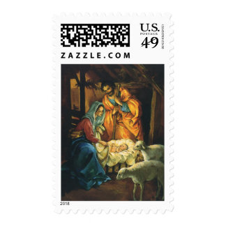 Natividad del navidad del vintage, bebé Jesús en Sellos