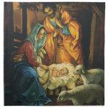 Natividad del navidad del vintage, bebé Jesús en Servilleta