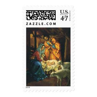 Natividad del navidad del vintage, bebé Jesús en Timbre Postal
