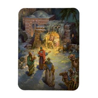 Natividad del navidad del vintage con unos de los imán