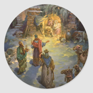 Natividad del navidad del vintage con unos de los pegatina redonda
