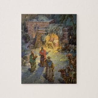 Natividad del navidad del vintage con unos de los puzzle con fotos