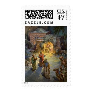 Natividad del navidad del vintage con unos de los sello