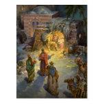 Natividad del navidad del vintage con unos de los tarjetas postales