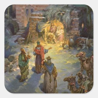 Natividad del navidad del vintage calcomanias cuadradas