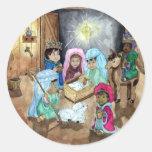 Natividad del navidad pegatina redonda