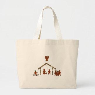 natividad del pan de jengibre del navidad bolsa de tela grande