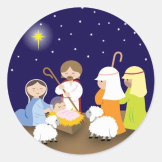 Natividad del señor etiqueta redonda