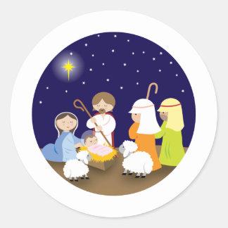 Natividad del señor pegatina redonda