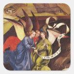 Natividad, detalle de tres ángeles, c.1425 calcomanías cuadradass