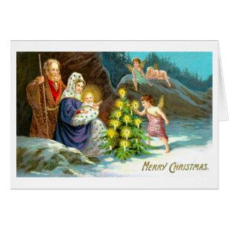 Natividad en la nieve tarjeta de felicitación