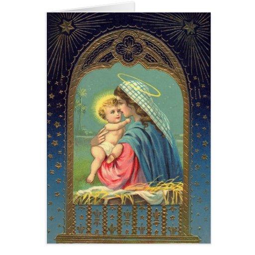 Natividad Jesús *Baby y Mary* del vintage Felicitacion