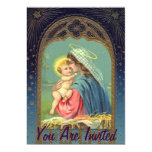 """Natividad Maria que detiene al bebé Jesús Invitación 5"""" X 7"""""""