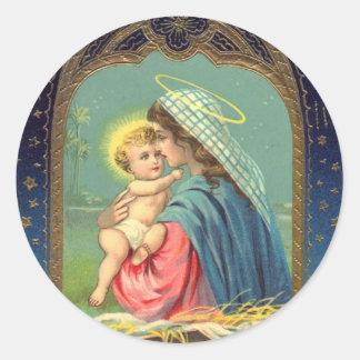 Natividad Maria que detiene al bebé Jesús Pegatinas Redondas