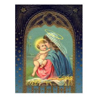 Natividad Maria que detiene al bebé Jesús Postal