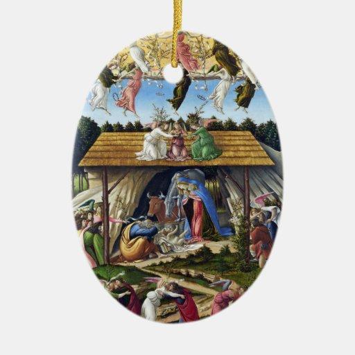 Natividad mística de Sandro Botticelli Adorno Navideño Ovalado De Cerámica