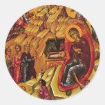 Natividad ortodoxa pegatinas redondas