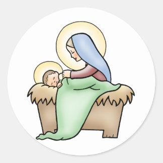 Natividad Pegatina Redonda
