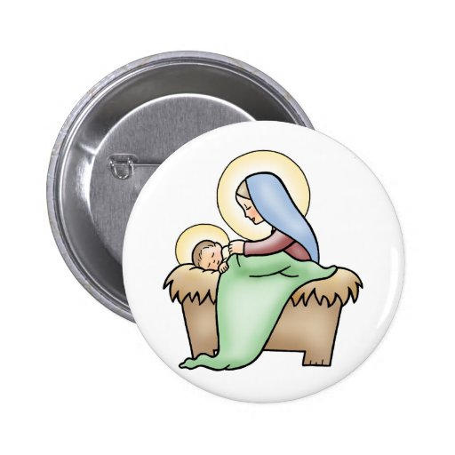 Natividad Pin Redondo De 2 Pulgadas