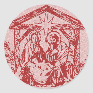 Natividad roja pegatinas redondas