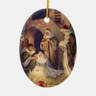 Natividad Scence del ornamento del navidad Adorno Navideño Ovalado De Cerámica
