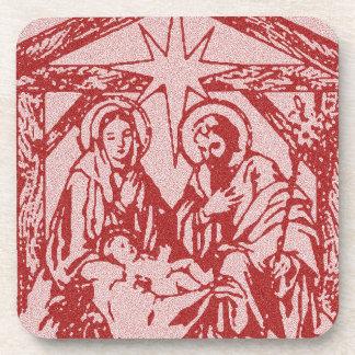 Natividad texturizada rojo posavaso
